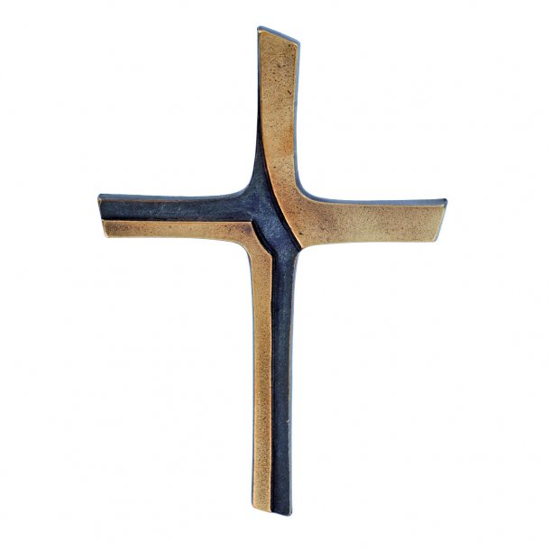 Kors i bronze, delvist patineret