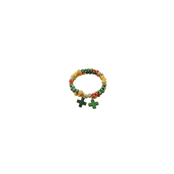 Dobbelt armbånd med perler og to kors