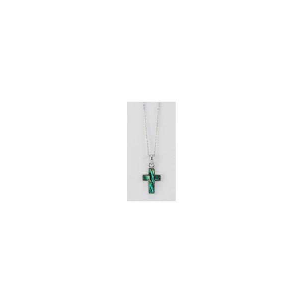 Halskæde med kors belagt med Paua musling