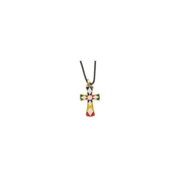 Halssmykke med fler-farvet kors
