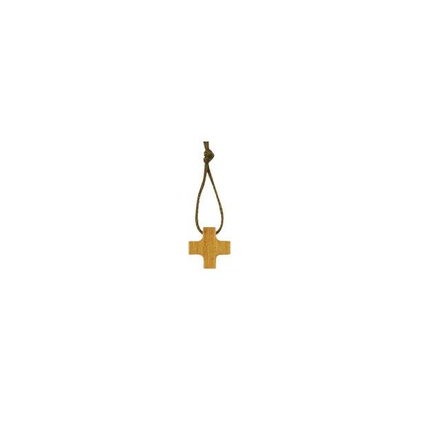 Halssmykke, kors i oliventræ, mini
