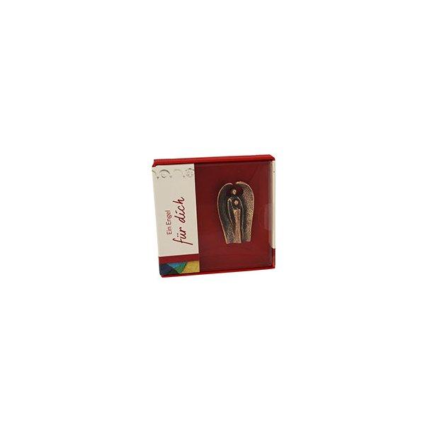 Skyts-engel i nysølv, lommeformat 4,5 x 2,5 cm