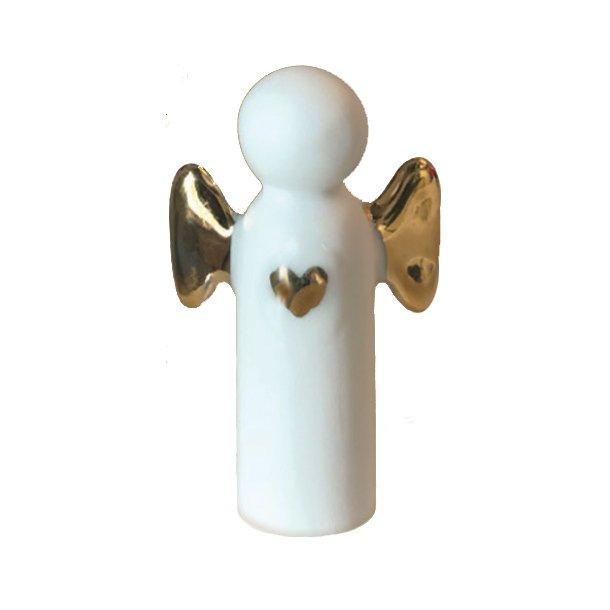 Engel i porcelæn med vinger i guld eller sølv